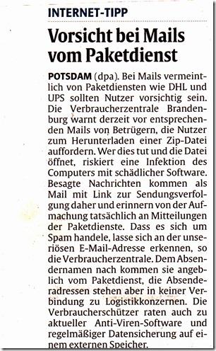 Zeitungsartikel Spam